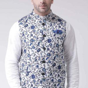 Nehru Jacket- Blue print